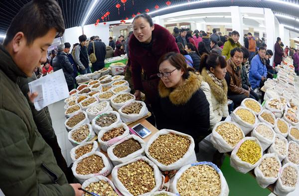 2015康美亳州中药城菌种举行开市仪式如何购买羊肚菌的药市图片