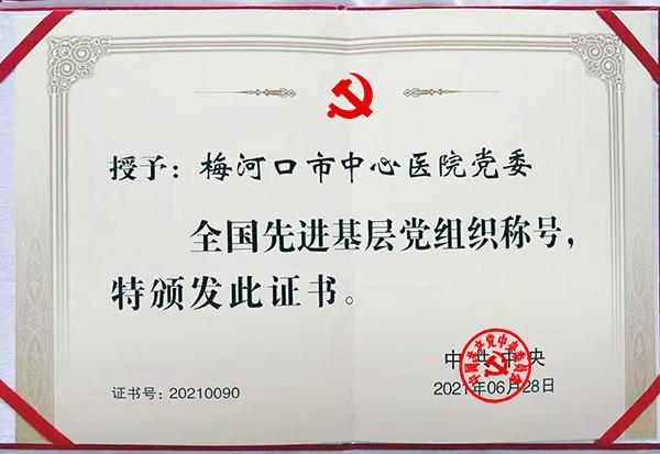 """康美梅河口市中心医院党委荣获""""全国先进基层党组织""""荣誉称号"""